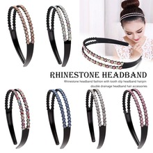 Female Crystal Rhinestone Jewelry Headband Head Hair Bands Double Side Crystal Hairbands Headwear Accessories For Women