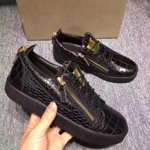 2020 Newest Mens Designer stone pattern Leather with double side zipper Casual Shoes
