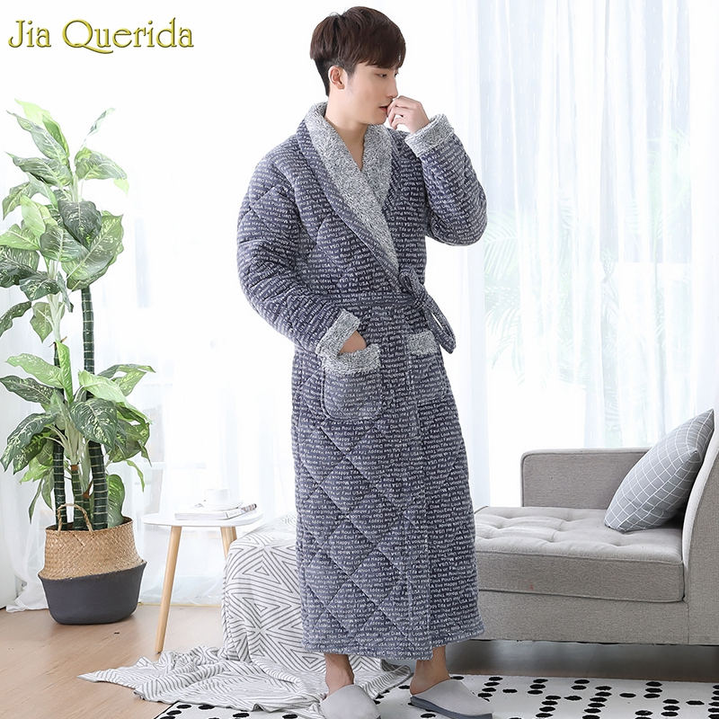 Bathrobes Men Leisure Home Clothing Winter Thick Long Robe 3 Layer Padded Velvet Kimono Mens'r Luxury Robe Plus Size Kimono Male