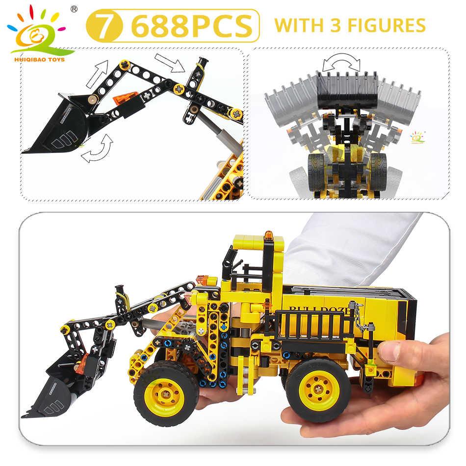 HUIQIBAO inżynieria spychacz żuraw Technic wywrotka klocki budowa miasta pojazd samochód zabawka dla dzieci dzieci prezent