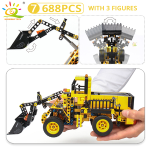 Image 5 - HUIQIBAO jouet pour enfant de véhicules de Construction, cadeau pour enfant, blocs de Construction de villes, grue et Bulldozer, camions à benne basculante