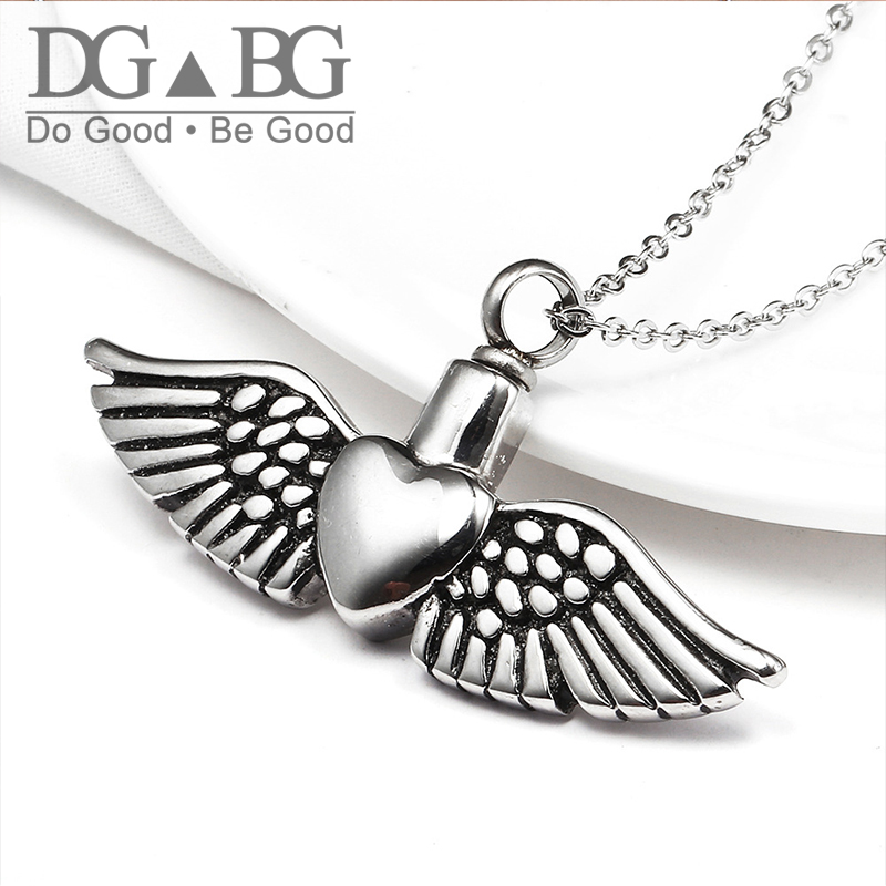 Urns Pet Ashes Angel'S Wings Pendant Heart Of Feathers Necklace Mini Funeral Urn  Stainless Steel Perfume Essential Oil Bottle