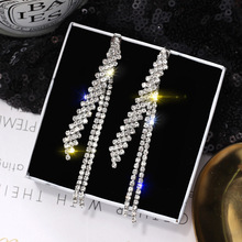 Europe and America Simple Zircon Long Tassel Earrings Female Joker temperament