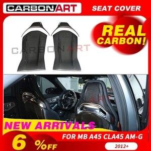 Cubierta de asiento trasero de fibra de carbono embellecedores interiores para MB A45 CLA C E Clase de asiento de carbono embellecedor GLA C63 amg estilo de coche