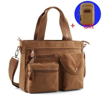 Multi-function Men Canvas Bag Briefcase Travel Suitcase Messenger Shoulder Tote Back Handbag Large Casual Business Laptop Pocket