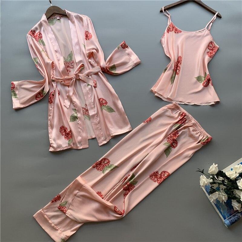 Image 5 - QWEEK Women Pajama Set 3 Pieces Nightwear Satin Floral Lingerie Pyjama Clothes for Sleeping Lounge Wear Sleep Wear Women pijamaPajama Sets   -