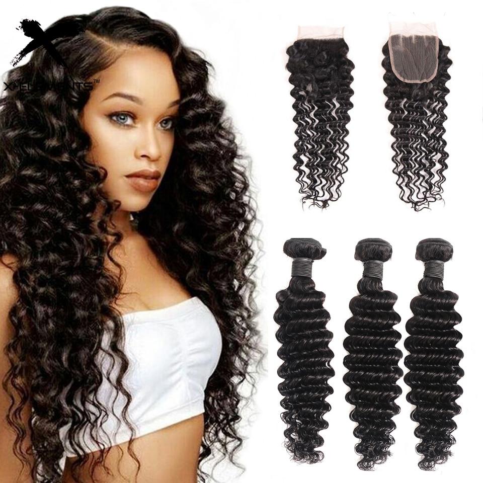 Brazilian Hair Weave Bundles With Closure Deep Wave Bundles With 4X4 Lace Closure 100% Remy Human Hair Extensions Natural Color
