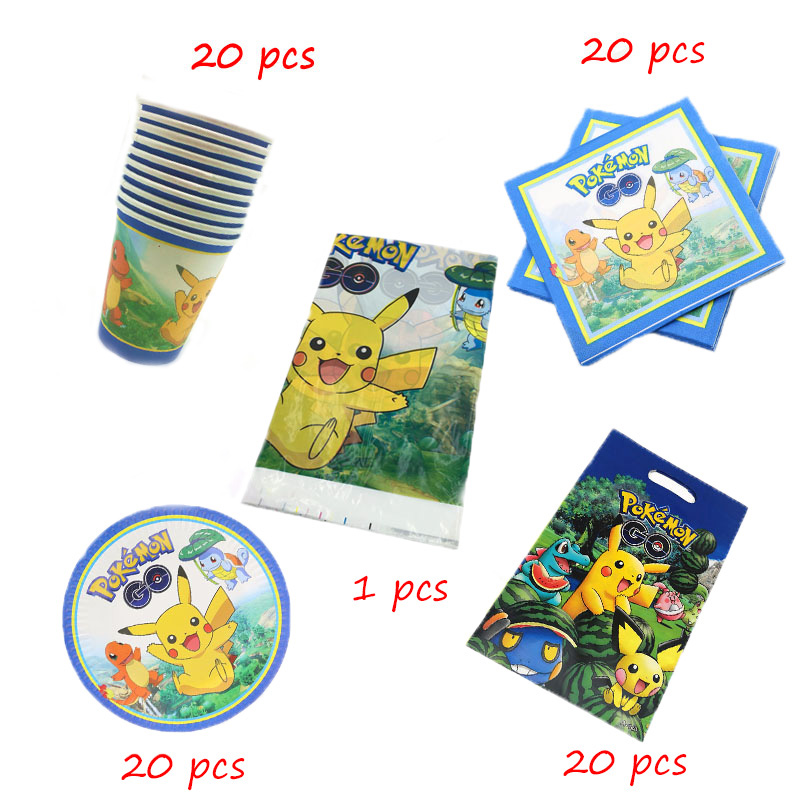 Pokemon Go 81pcs/lot Birthday Party Disposable Tableware Cup Plate Napkin Baby Shower Gift Bag Tablecloth Decorations Supplies