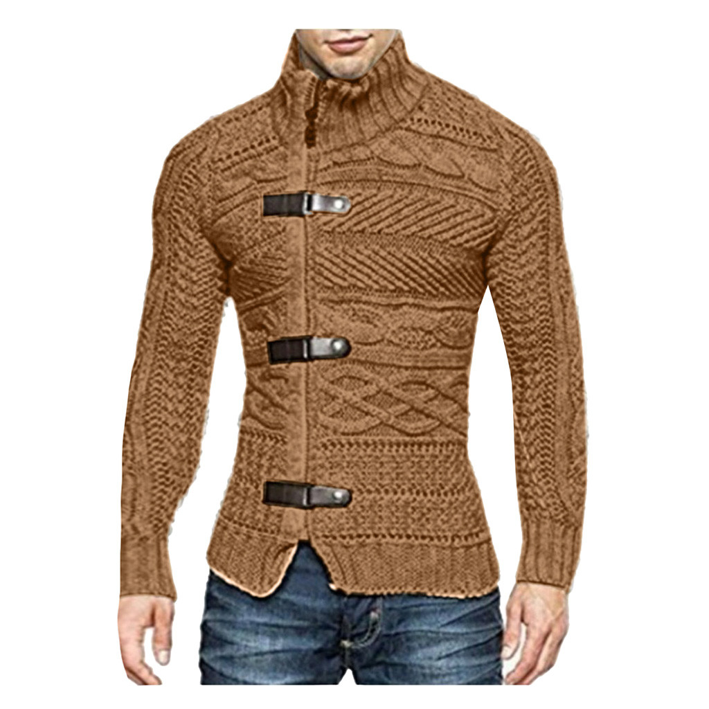 Fashion Men's Winter Casual Stand Knitted Sweater Jacket Top Blouse Knitwear Warm Autumn Korean Style Casual Clothing Male Y927
