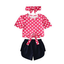 Suit Outfits Summer O-neck Short Sleeve Dot Tops Shorts Clothing Cute 3pcs Headband Toddler Infant