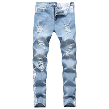 Holes Elastic Designer Mens Jeans Distrressed Hip Hop Pencil Pants Ins Hot Style Trousers
