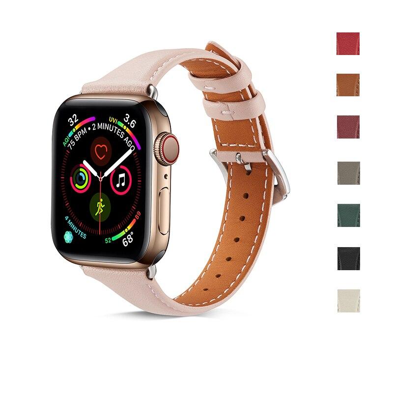 Купить кожаный ремешок для часов apple watch 5 4 40 44 мм спортивный