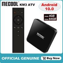 アンドロイド 10.0 amlogic S905X2 音声制御スマートtvボックスクアッドコア 4 ギガバイト/64 ギガバイトセットトップボックス 2.4g & 5 グラムwifi 4 18kメディアプレーヤーmecool KM3