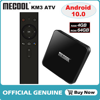 Android 10.0 Amlogic S905X2 Voice Control Smart TV Box Quad Core 4GB/64GB Set Top Box 2.4G & 5G Wifi 4K Media Player Mecool KM3
