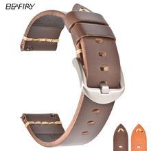 BEAFIRY سريعة الإصدار الخضار المدبوغة حزام (استيك) ساعة 20 مللي متر 22 مللي متر 24 مللي متر واحد طبقة جلدية حزام الرجعية WatchbandBelt البني ل الأحفوري