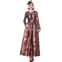 Luxury Trench Dress High Quality 2019 Autumn Party Dress Women's Wonderful Flowers Jacquard Long Dress DZ1077