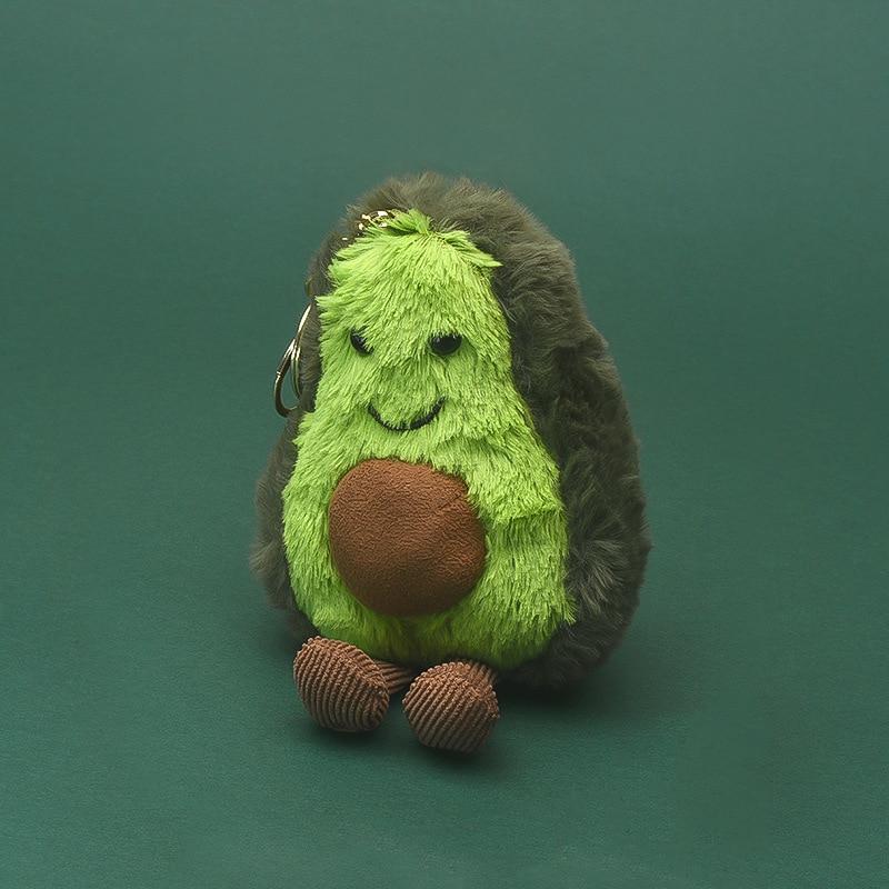 Key-Chain Charms Buckle Mushroom Plush-Toy Pear-Apple Avocado Fruit Women Bags Silver