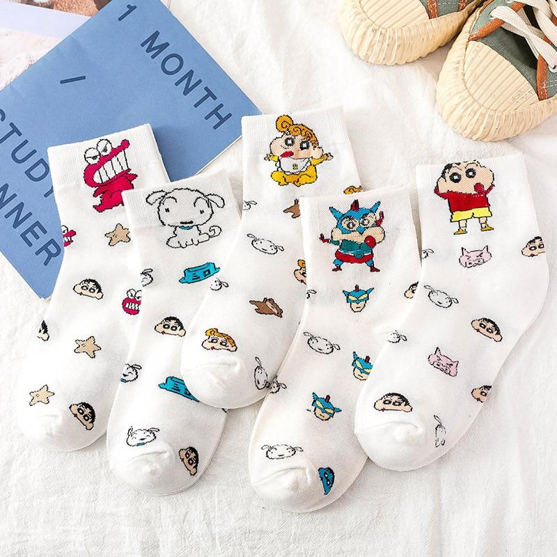 Crayon Shin Chan Women Socks Anime Cute Short Women's Sock Cotton Funny Kawaii White Happy Cartoon Nohara Himawari Calcetines
