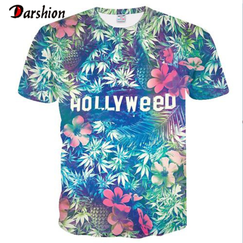 Hot New Men Leisure 3D Printing T Shirt Colorful Design Funny Letter HOLLYWEED Printed Male T-shirt Summer T-shirt Size Plus 4XL