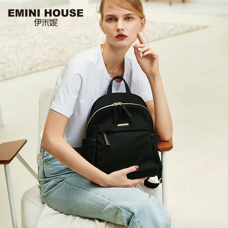 EMINI HOUSE Nylon Multifunction Backpack Waterproof Nylon Backpack Women Shoulder Bag Backpacks For Teenage Girls School Bag