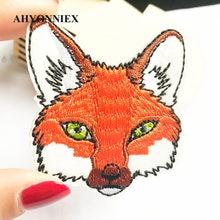 AHYONNIEX Fox Testa Patch per Abbigliamento Ferro sul Cucito Ricamato Applique Sveglio Cucire Su Tessuto Distintivo FAI DA TE Accessori di Abbigliamento
