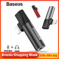 Baseus 2 in 1 for Lightning to 3.5mm Jack Adapter Audio Cable for iPhone X XS Max XR Audio Splitter for Charging+Music