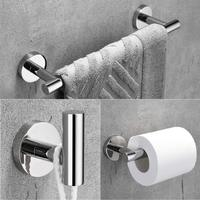Stainless Steel 3 Piece Bathroom Hardware Set Modern Round Towel Bars Bathroom Fixtures Wall Mount, Polished Finish towel bar