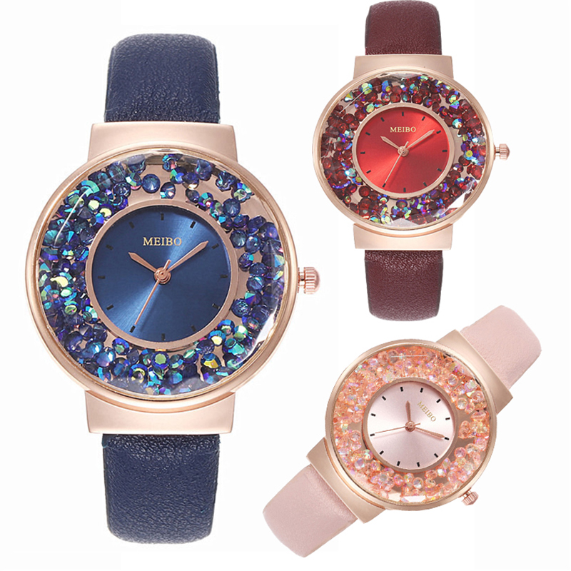 Women Watches Luxury Rhinestone Blue Red Quartz Watch Fashion Ladies Wristwatch Leather Bracelet Watches