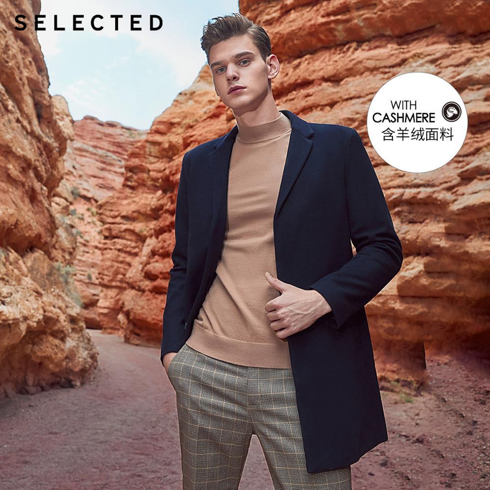 SELECTED Men's Wool-blend Lapel Coat Winter Male Woolen Jacket Warm Outwear S|418427506