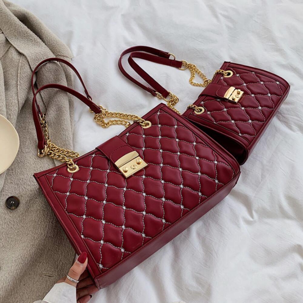 Lattice Big Tote Bag 2019 Fashion New High Quality Leather Women's Designer Handbag High Capacity Chain Shoulder Messenger Bag