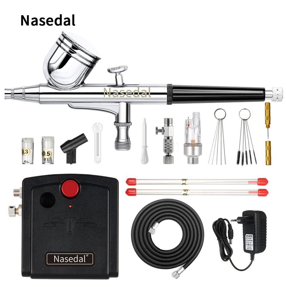 Nasedal Dual-Action Airbrush Compressor Kit 0.3mm Air Brush Spary Gun For Cake Decoration Nail Art Model Car Painting Spray Tool