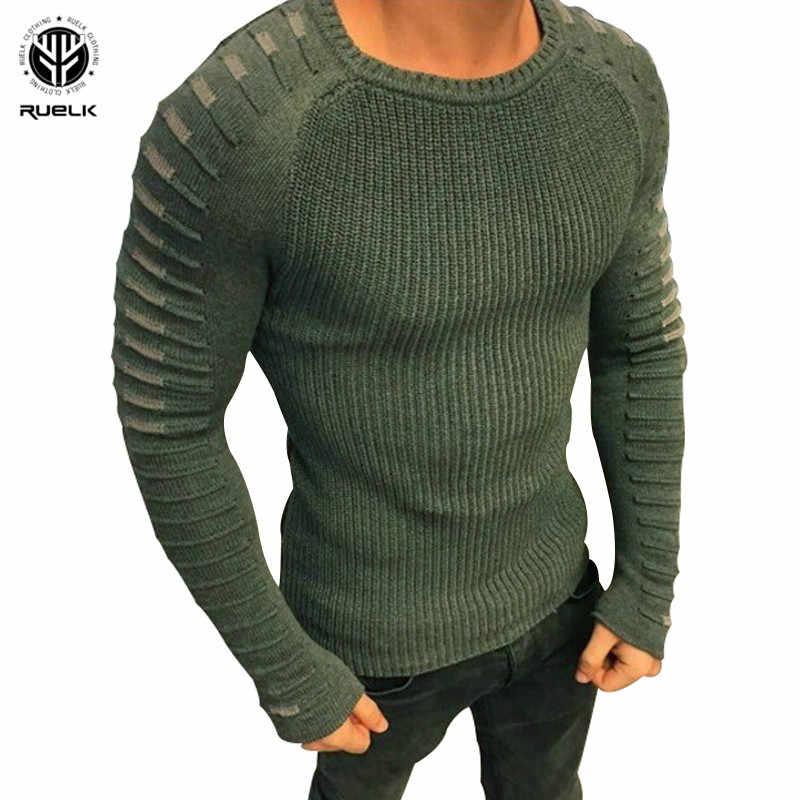 RUELK 2019 New Men's Slim Casual Sweater Personality Fashion