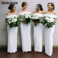 Wholesale Price White Bridesmaids Dresses Long Satin Off the Shoudler Bridesmaid Dress Sleeveless Boat Necklin for Wedding Party