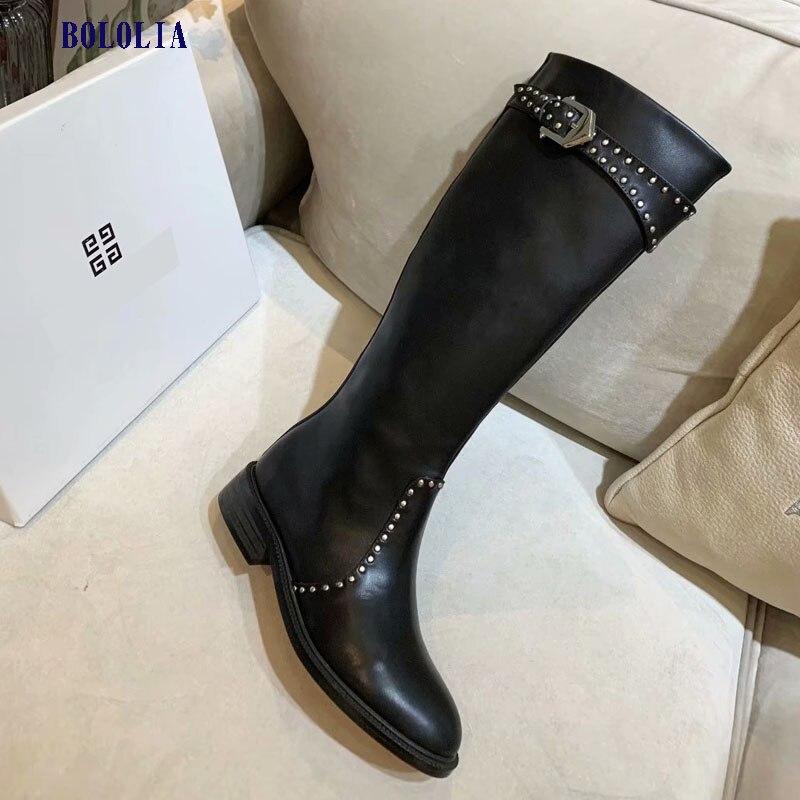 Botas de cuero genuino de alta calidad para mujer, botas de otoño e invierno, botas altas hasta la rodilla, zapatos Martin para mujer - 3