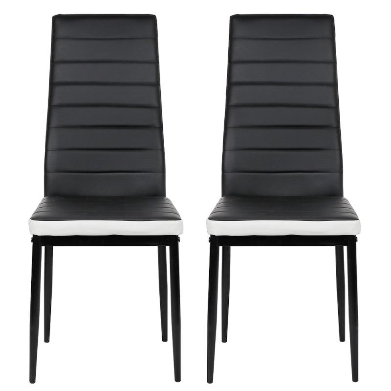2Pcs/Set Dining Chair Dining Room Furniture PU Synthetic Leather Pad Cushion Metal Stainless Legs Bar Chair Black HWC