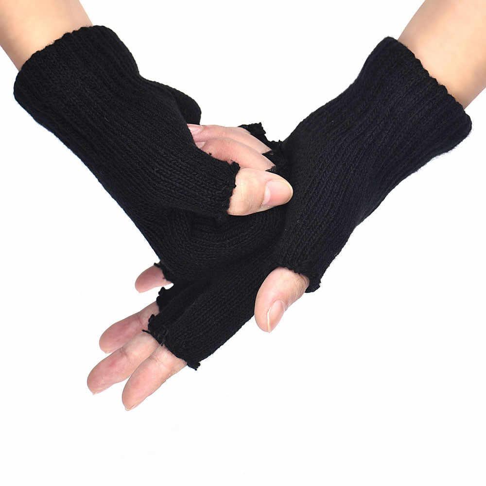 قفازات رجالي سوداء محبوكة بدون أصابع من Harajuku قفازات مرنة قابلة للتمدد قفازات دافئة نصف أصابع بدون أصابع قفازات peluche luvas # W3