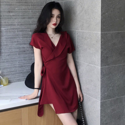 New Style Victoria French Fu Gu Qun Autumn And Winter Very Fairy Skirt France Non-mainstream V-neck Red Chiffon Dress