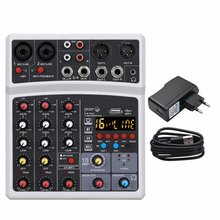 Sound Mixing Console Bluetooth USB Record Computer Playback 48V Phantom Power Delay Repaeat Effect 4 Channels USB Audio Mixer