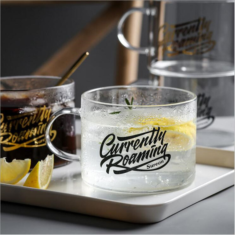 Glass Mug Creative Letter Milk Juice Water Cup Black Gold Plated Handle Drinkware Lovers Couple Crystal Transparent Mugs Gifts in Mugs from Home Garden