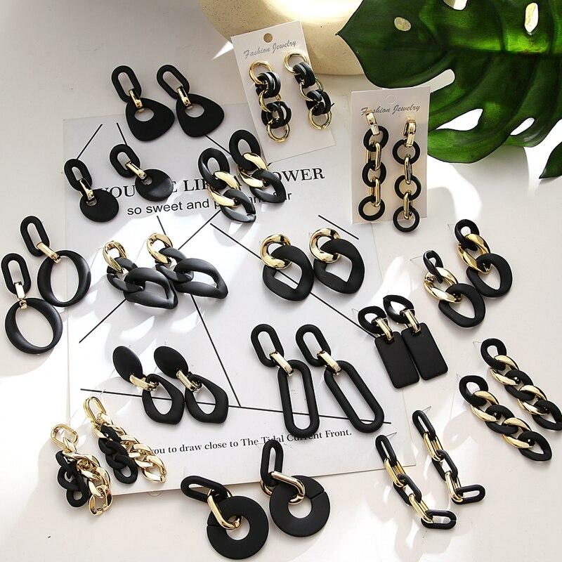 Женские Висячие серьги VKME в Корейском стиле, модные черные геометрические серьги-подвески, винтажные ювелирные украшения