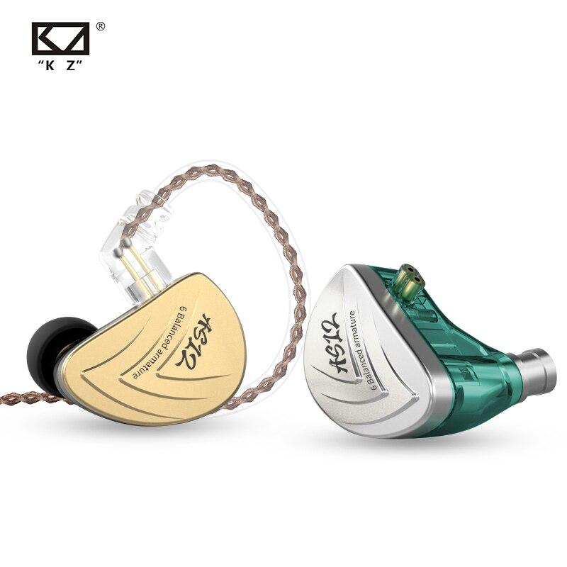 KZ AS12 6BA Driver Unit In Ear Oortelefoon 6 Balanced Armature BA HIFI Monitor Podium Sport Running Resolutie IEM Afneembare 2Pin-in Telefoonoordopjes en hoofdtelefoons van Consumentenelektronica op  Groep 1