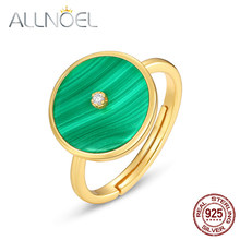 Allnoel sólido 925 anéis de prata esterlina para mulher natural malaquita 5a zircão branco anel ajustável real jóias de casamento de ouro