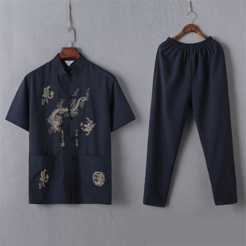 Tang Suit Chinese Dragon Kung Fu Traditional Chinese Clothing For Men Tai Chi Uniform Men Suit Wushu Hanfu Male New Year Party
