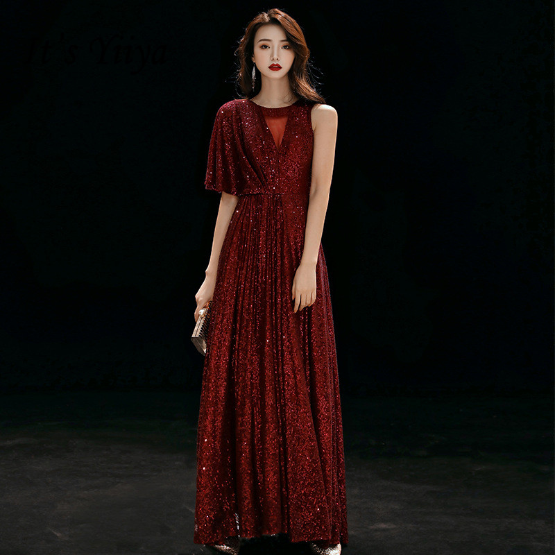 It's Yiiya Formal Gowns Burgundy Shiny One Sleeve Elegant Evening Dresses O-neck Formal Party Gowns Long Robe De Soiree K213