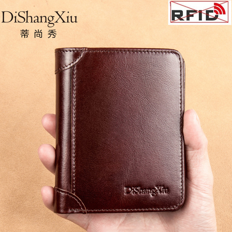 Portefeuille pour hommes RFID bloquant Anti-vol de haute qualité en cuir véritable portefeuilles hommes porte-carte courte poche sac à main portefeuille homme