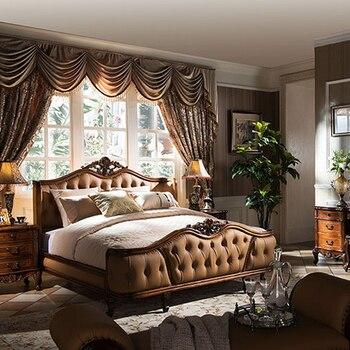 American Luxury Leather Solid Wood King Size Bedroom Furniture Deri katı ahşap kral yatak odası mobilya GH01