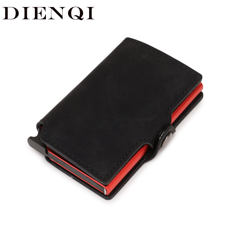 DIENQI Rfid Id Credit Card Holder Anti Bank Card Pocket Protection Metal Pop Up Wallet Smart Business Creditcard Holder Case