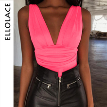 Ellolace Fashion Sexy Deep v-Neck Bodysuits Sleeveless Backless Female Party Club Slim Rompers Skinny Bodycon Overalls Body
