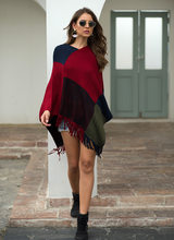 Women Plus Size Ponchos and Capes Color Block Stripes Tassel Knitted Shawl Cloak Female Casual V-neck Oversized Cardigan Poncho