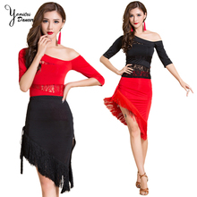2020 Black and Red Latin Dance Practice Costume Set Off Shoulder Dance Lace Tops Tassel Red Skirts for Latin Dancer Spring New